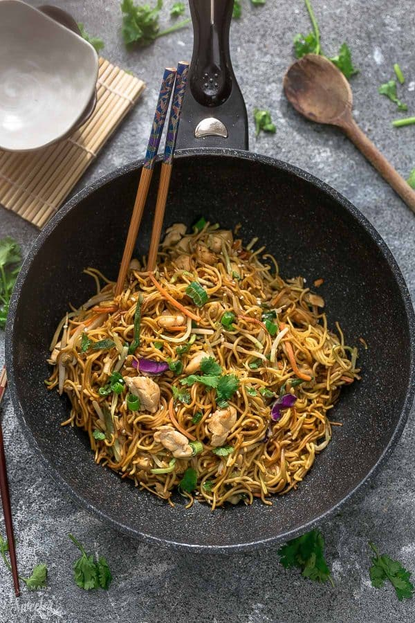 Top view of Chicken Chow Mein in a bowl