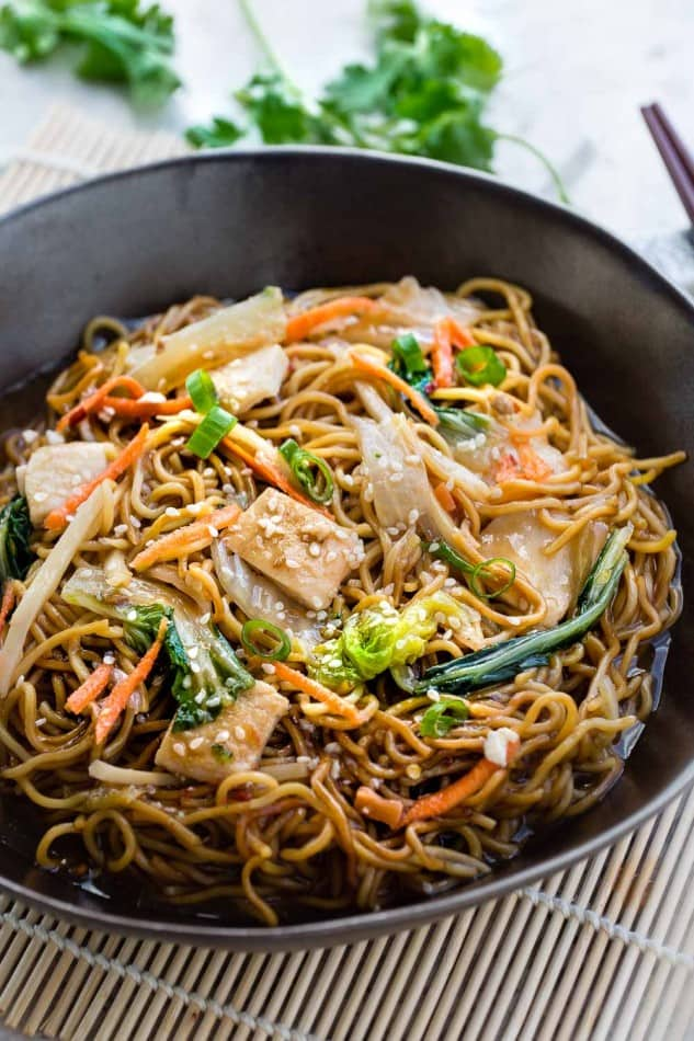 Chicken Chow Mein is the perfect easy weeknight meal! Best of all, it comes together in under 20 minutes in just one pot! Forget calling restaurant takeout, this recipe is so much better!