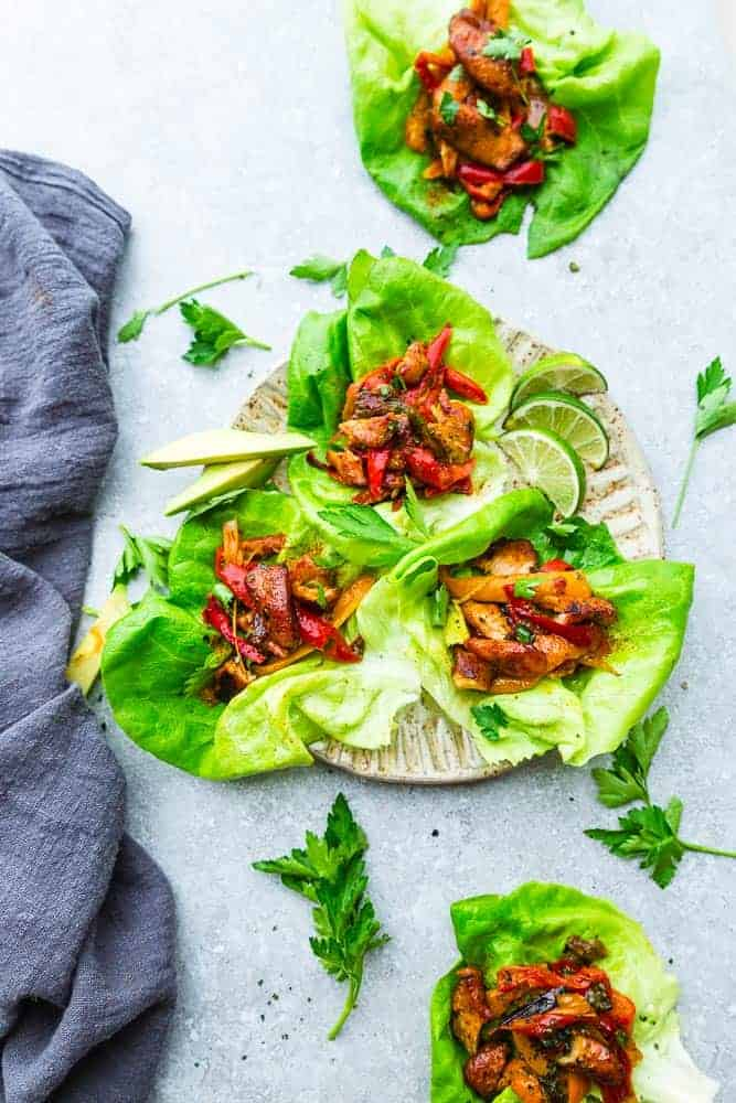 Chicken Fajita Lettuce Wraps – fresh, flavorful and a healthier way to enjoy fajitas! Less than 30 minutes to make and perfect for lunch or a lightened up dinner for busy weeknights!