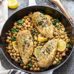 This recipe for Chicken Piccata is the perfect easy one pan meal for busy weeknights or impressive enough for date night. Best of all, comes together in just 30 minutes with a tangy lemon sauce with capers. Great for Sunday meal prep for packing into school or work lunchboxes or lunch bowls.