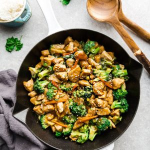 Nutritious Chicken and Broccoli Stir-Fry in a large cooking skillet.