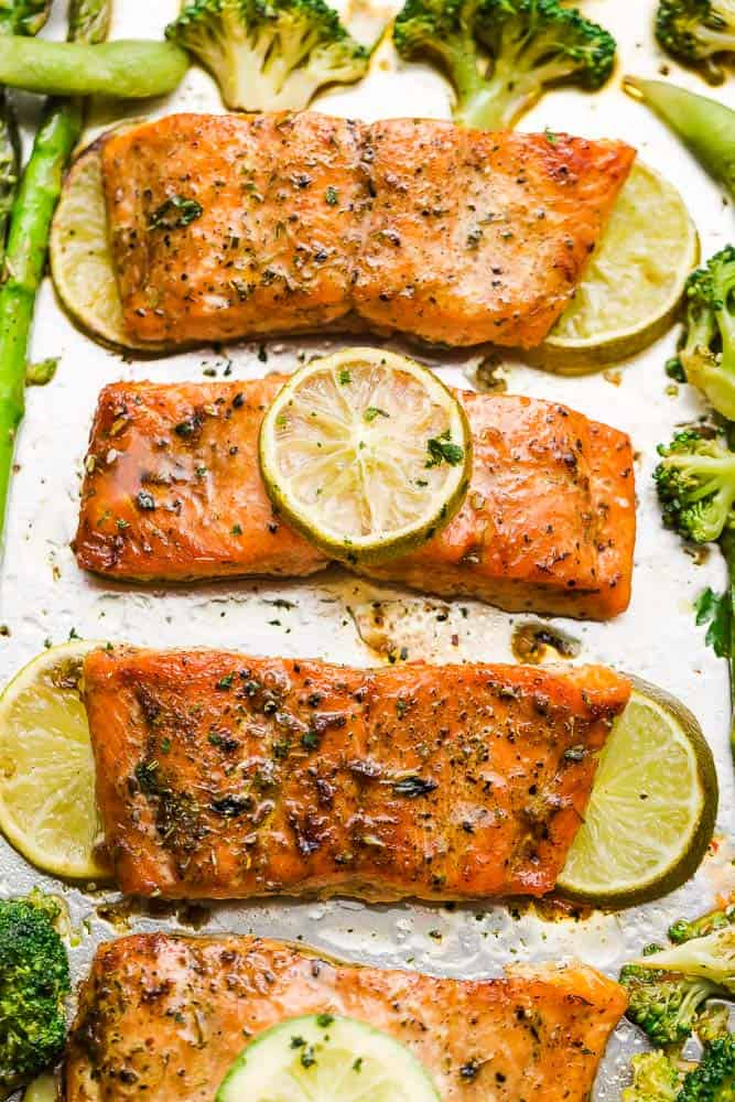 Top view of Chili Lime Salmon fillets