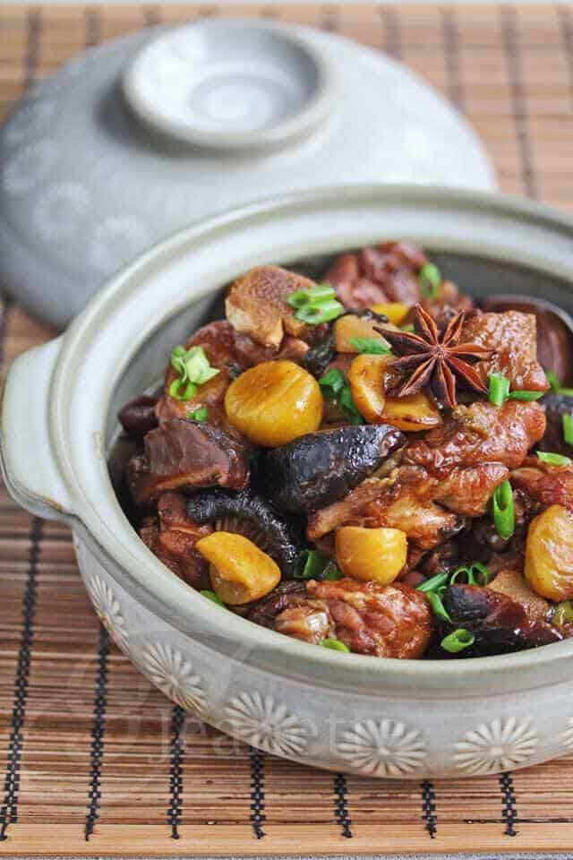 Chinese Braised Chicken and Chestnuts in a serving dish
