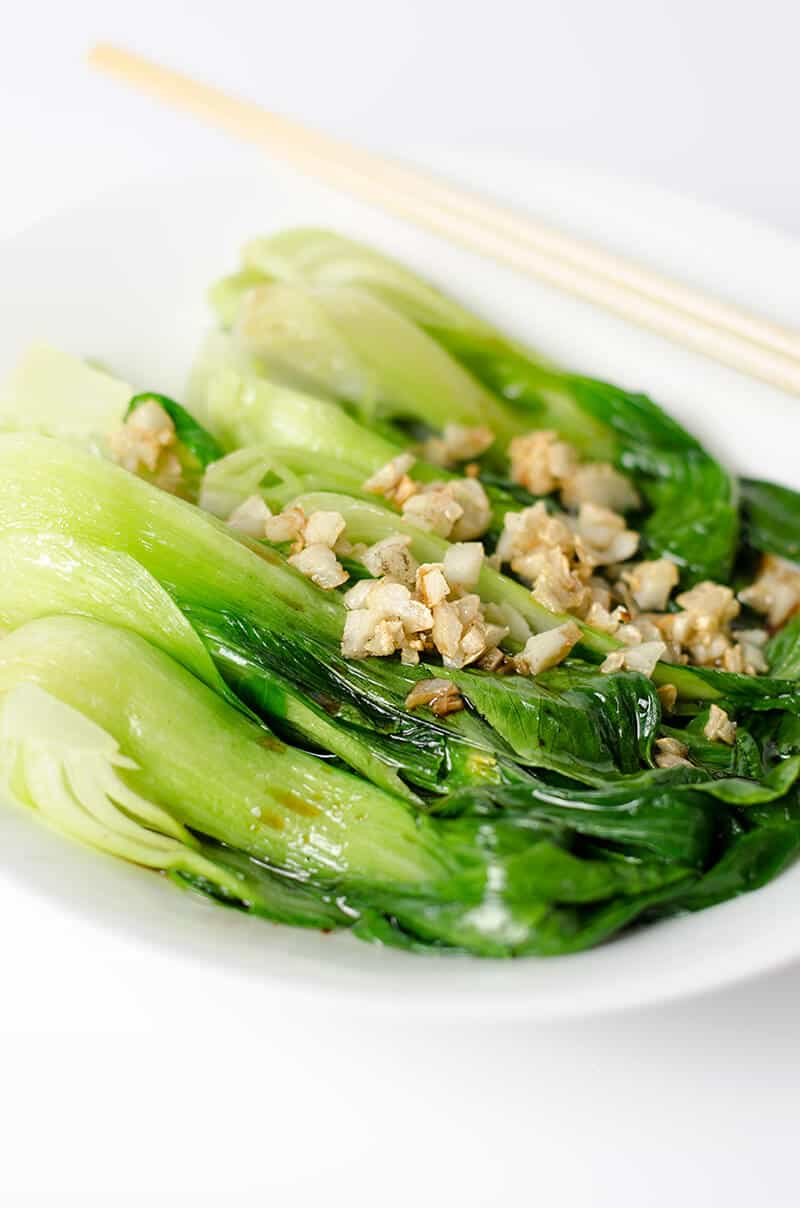 Steamed Bok Choy in a bowl
