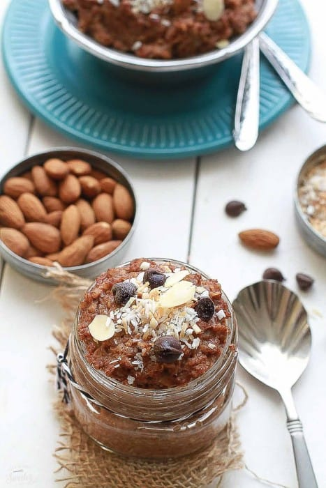 Chocolate Coconut Almond Overnight Oats makes the perfect healthy breakfast.