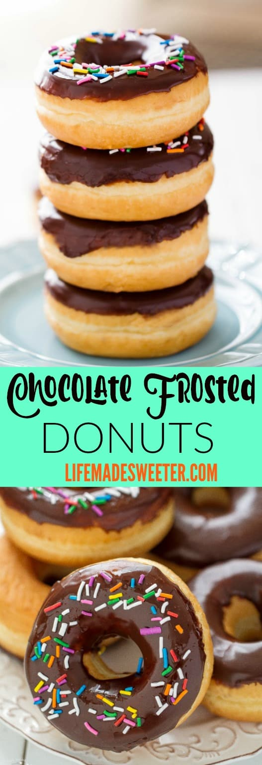 Chocolate Frosted Donuts with Sprinkles makes the perfect sweet treat.