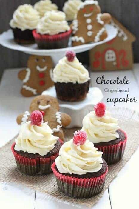 Chocolate Gingerbread Cupcakes with White Chocolate Frosting
