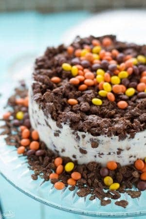No Bake Peanut Butter Chocolate Crunch Ice Cream Cake
