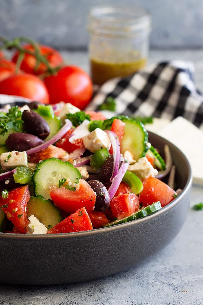 Side view of a bowl of Greek Salad