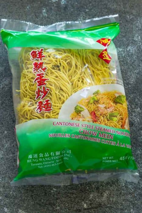 Top view of Chow Mein Noodles ingredient package