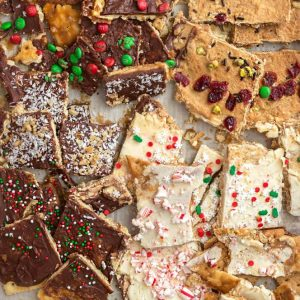 Several varieties of Christmas Cracker Toffee