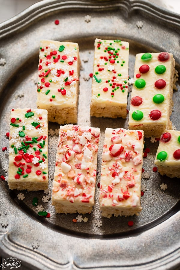 Christmas White Chocolate Rice Krispy Treats are a fun treat for the holidays!