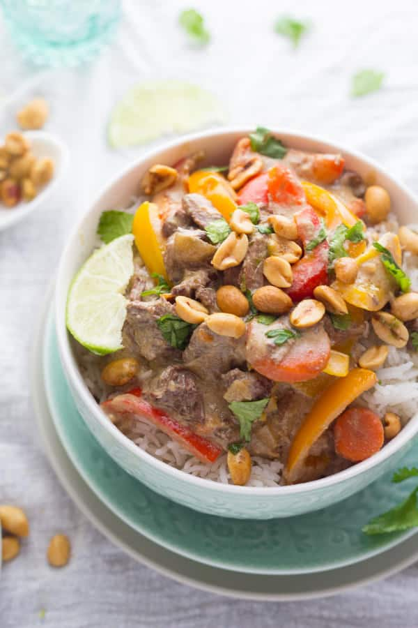 Coconut Curry Beef with Lime Roasted Peanuts