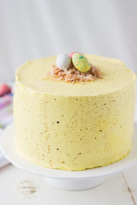 Coconut Lemon Easter Speckled Layer Cake