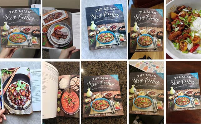 The Asian Slow Cooker cookbook collage of people that have bought plus giveaway for Hamilton Beach slow cookers!