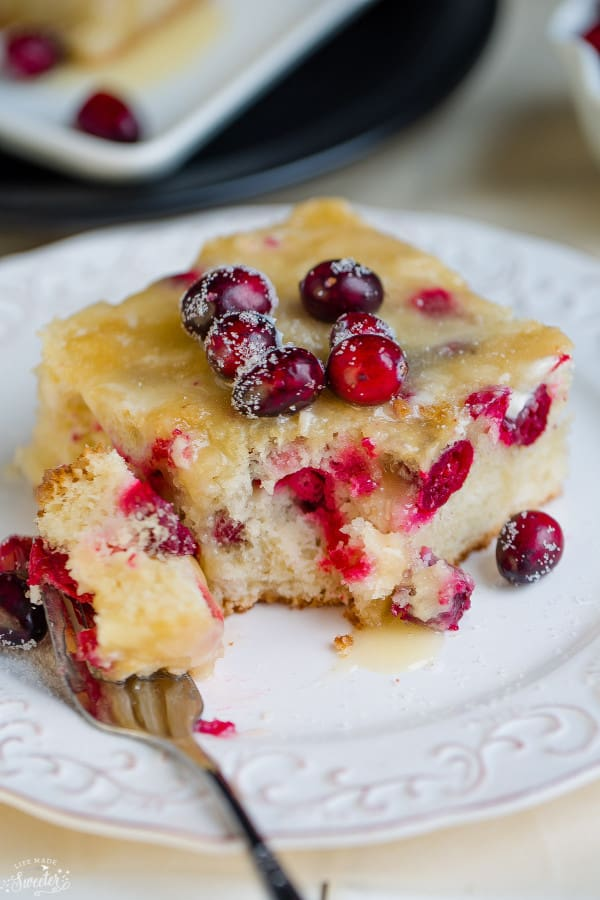Cranberry Christmas Cake with Butter Sauce makes a special dessert for the holidays.