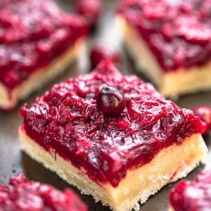 Close-up view of healthy cranberry shortbread bars on a baking sheet