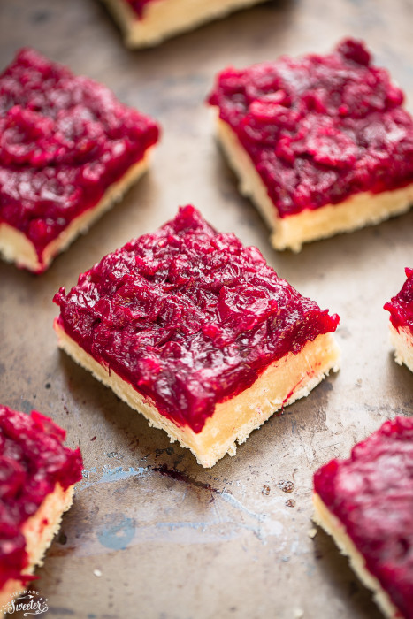 Cranberry Shortbread Bars are the perfect way to use up leftover cranberry sauce