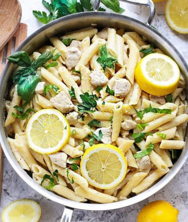 Creamy Lemon Chicken One Pan Pasta makes the perfect easy weeknight meal. Best of all, this skillet pasta is made with lemon, chicken, spinach, parmesan and ricotta. Everything including the pasta is cooked in one pot and ready in under 25 minutes.
