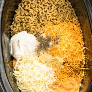 Noodles, Sour Cream, Shredded Cheddar, Shredded Mozzarella and the Rest of the Mac & Cheese Ingredients in a Slow Cooker
