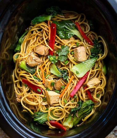 Top view of Chicken Lo Mein in a Crock Pot