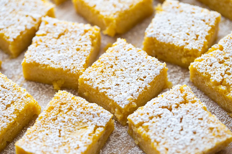 Close-up of Lemon Bars dusted with powdered sugar