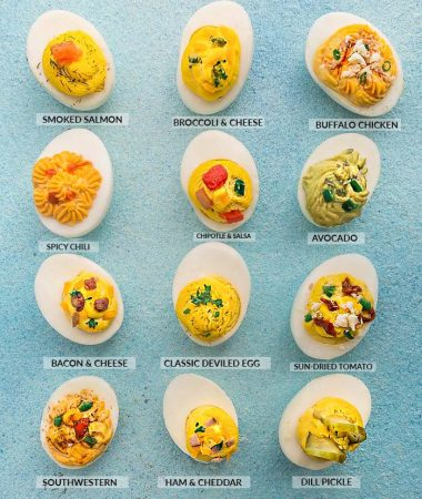 12 Deviled Eggs of Each Flavor on a Light Blue Surface, Each Labeled Accordingly