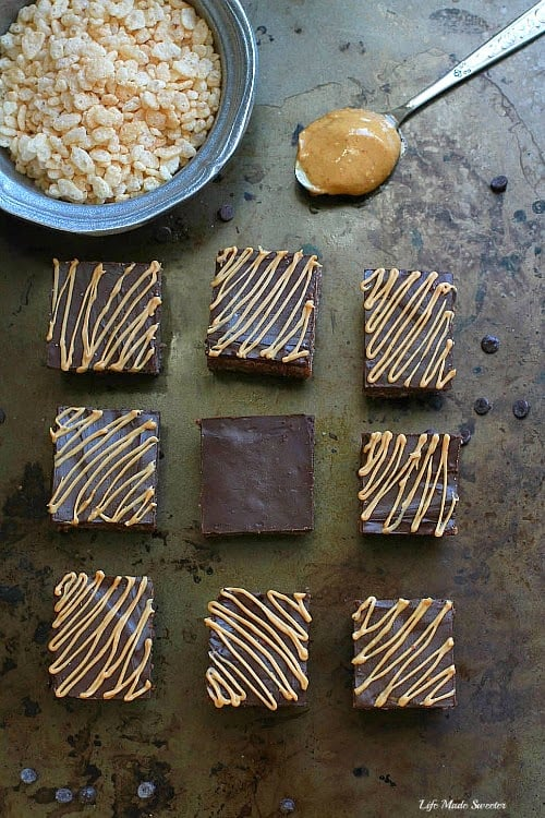 Double Chocolate Peanut Butter Krispy Treats make the perfect no bake treat