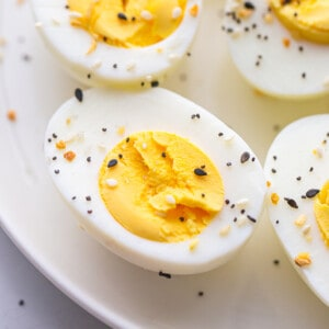 A Close-Up Shot of a Plate of Hard Boiled Eggs Flavored with Everything Bagel Seasoning