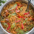 Easy Chicken Lo Mein makes a delicious weeknight meal & way better than takeout!