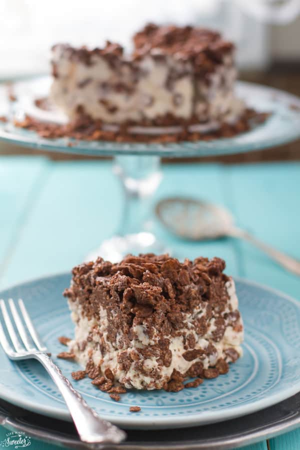 Easy Chocolate Crunch Ice Cream Cake comes together easily with only three ingredients