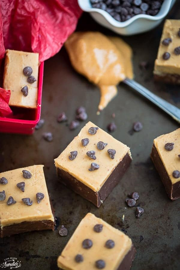 Easy chocolate peanut butter layered fudge buckeye for Easy sweet treats with peanut butter
