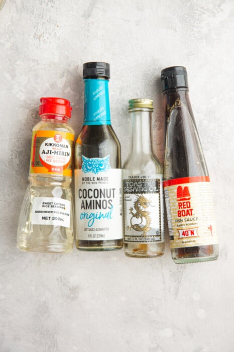 Seasonings to make fried rice - coconut aminos, sesame oil, mirin and fish sauce