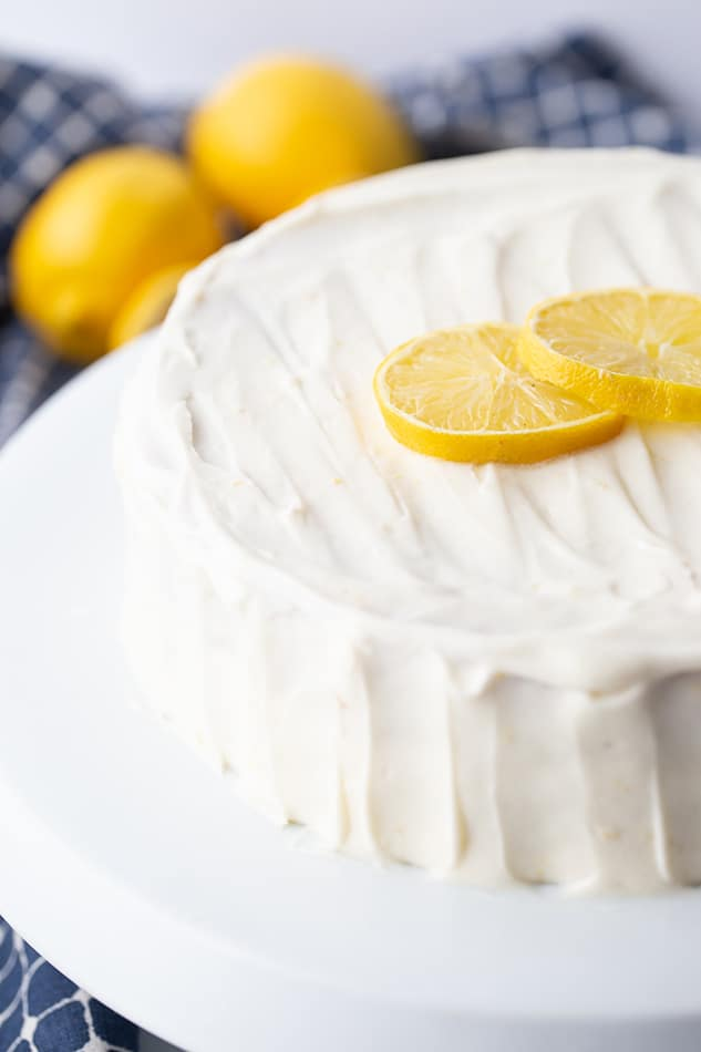 Close-up of a Lemon Cake on a white cake stand