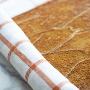 Pumpkin pie roll sponge cake partially rolled up with a tea towel