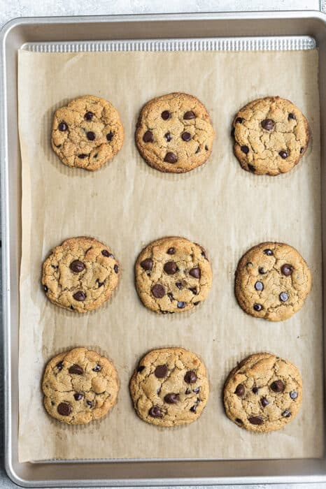 Top view of nine baked gluten free chocolate chip cookies on a parchment paper on a baking sheet