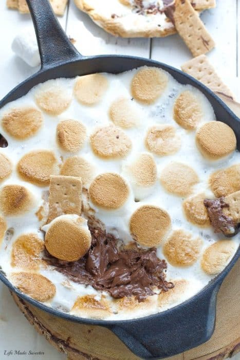 Easy Indoor S'mores Dip made 3 ways & easily comes together in 10 minutes. Perfect summer treat with no campfire required.