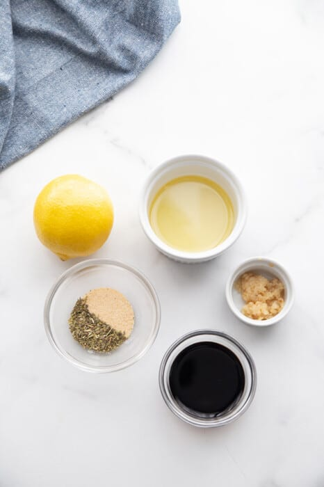 Flat lay of ingredients for lemon garlic chicken marinade