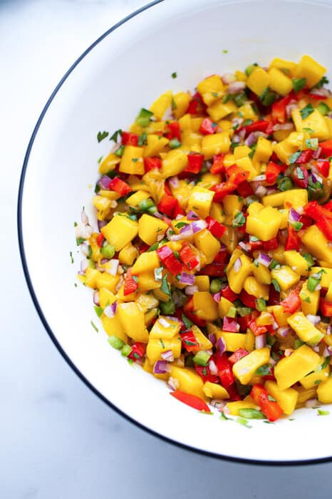 Portrait close-up shot of a serving of fresh peach salsa in a white bowl