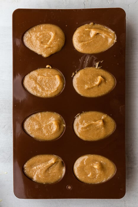 Peanut butter filling in a 8 cavity candy egg mold