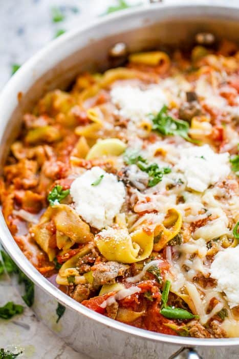 Easy Skinny Skillet Lasagna with Ribboned Zucchini Noodles comes ...