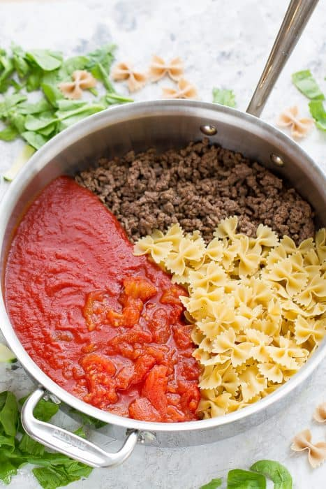 Easy Skinny Skillet Lasagna comes together in just 30 minutes