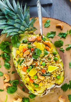 Homemade Fried Rice Stuffed Into the Hollowed Out Half of a Pineapple