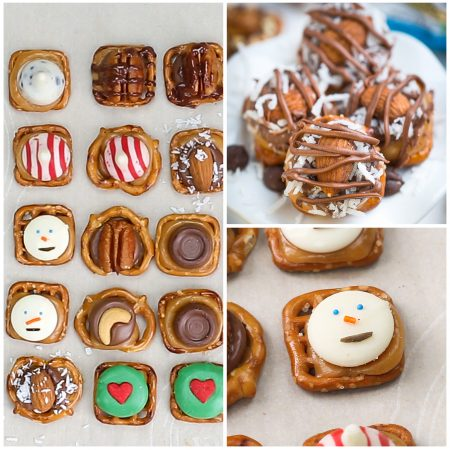 Easy Turtle Pretzel Bites - 9 ways! The perfect easy holiday gifts. Best of all, they're so easy to customize into Almond Joy, Snickers, Snowman, Turtles, Grinch, and more!