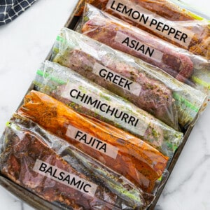 6 marinated sirloin steaks in ziplock bags with labels