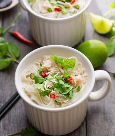 Two mugs of Faux Chicken Pho