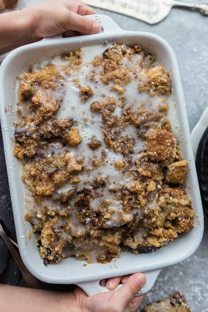 Cinnamon French Toast Bake - the perfect easy make ahead casserole for weekend or holiday breakfasts and brunch. Best of all, tastes just like cinnamon rolls without all the work. Made with thick cinnamon toasted bread topped with a brown sugar and cinnamon streusel. and an oeey gooey glaze.