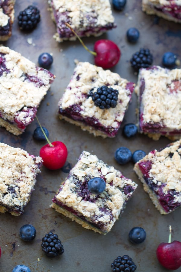 Fresh Cherry Berry Crumble Bars come together easily and make the perfect summer dessert