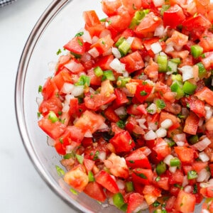 Close-up shot of a serving of fresh tomato salsa in a clear mixing bowl
