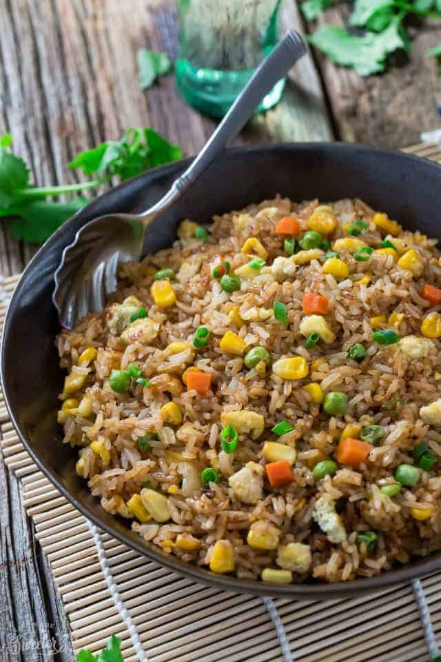 Fried rice with vegetables in a serving bowl